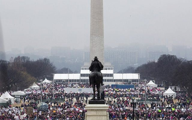 Protesters crowd the National Mall in Washington, DC, during the Women's March on January 21, 2017. (AFP PHOTO/ZACH GIBSON)