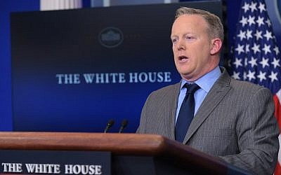 White House Press Secretary Sean Spicer delivers a statement in the Brady Briefing Room of the White House on January 21, 2017. (AFP/Mandel Ngan)
