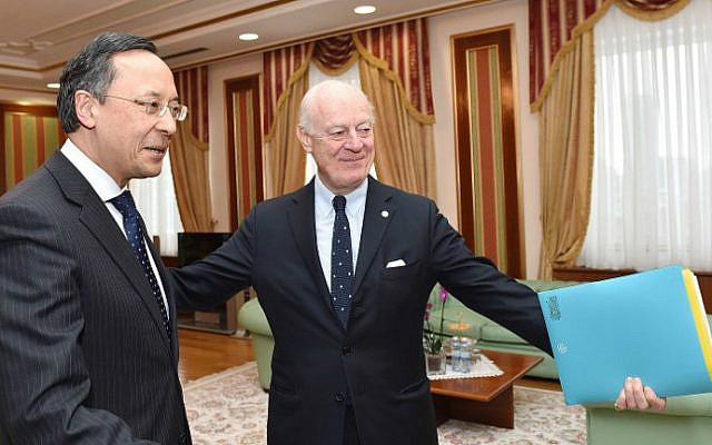 The United Nations' peace envoy for Syria, Staffan de Mistura, meets with Kazakh Foreign Minister Kairat Abdrakhmanov in Astana on January 22, 2017 on the eve of the start of the Astana peace talks on Syria. (Ilyas Omarov/AFP)