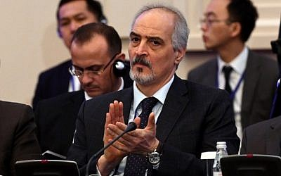 Syria's UN ambassador and head of the government delegation Bashar al-Jaafari attends the first session of Syria peace talks at Astana's Rixos President Hotel on January 23, 2017. (AFP Photo/Kirill Kudryavtsev)