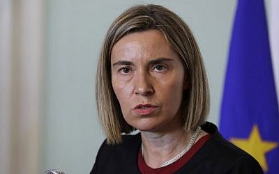 High Representative of the European Union for Foreign Affairs, Federica Mogherini, speaks during a press conference on January 26, 2017. (AFP/ JOSEPH EID)