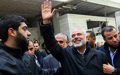 Hamas leader Ismail Haniyeh is greeted by supporters upon his return to Gaza City on January 27, 2017. (AFP/Mohammed Abed)