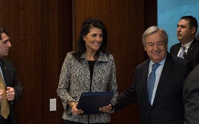 New US Ambassador to the United Nations Nikki Haley, arrives to meet UN Secretary-General Antonio Guterres at the United Nations on January 27, 2017 in New York. (Bryan R. Smith/AFP)