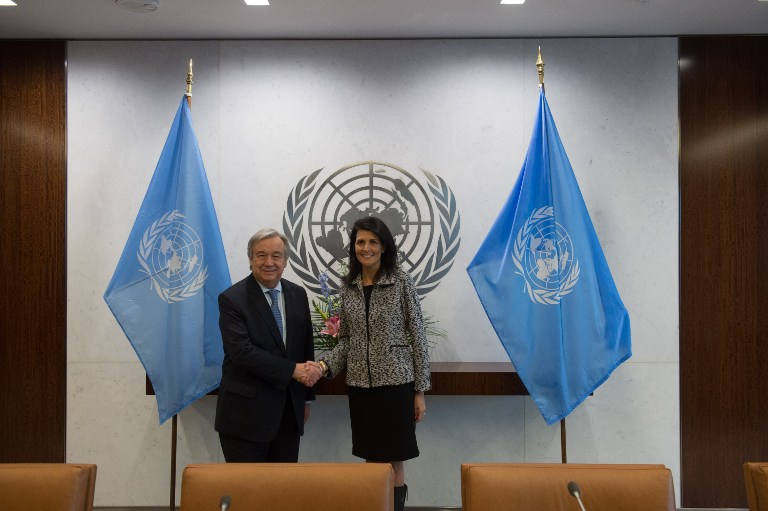 United Nations Secretary-General António Guterres shakes hands with new US Ambassador to the United Nations Nikki Haley at the United Nations on January 27, 2017 in New York. (Bryan R. Smith/AFP)