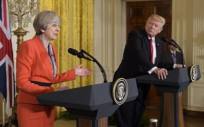 Britain's Prime Minister Theresa May speaks during a joint press conference with US President Donald Trump in the East Room of the White House, in Washington, DC, January 27, 2017. (AFP/Mandel Ngan)