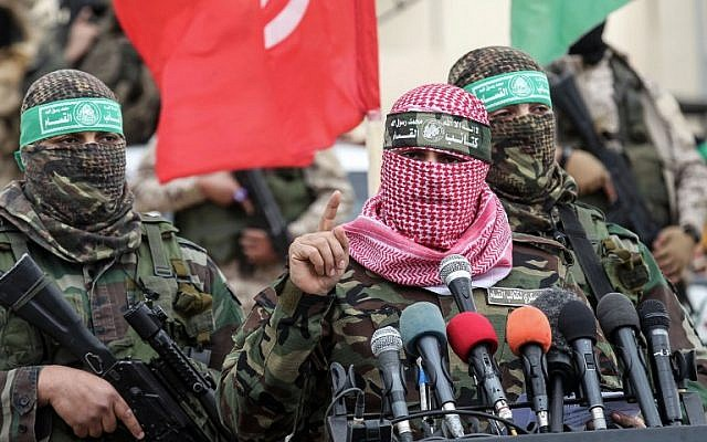 Abu Ubaida, spokesman of the Hamas military wing, speaks during a memorial in the southern Gaza Strip town of Rafah on January 31, 2017. (AFP PHOTO / SAID KHATIB)