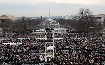 Spectators fill the National Mall in front of the US Capitol on January 20, 2017 in Washington, DC for the inauguration of Donald Trump. (Scott Olson/Getty Images/AFP)
