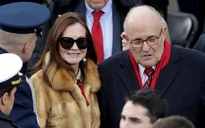 Rudy Giuliani, former mayor of New York, and wife Judith Giuliani arrive on the West Front of the US Capitol on January 20, 2017 in Washington, DC, for Donald J. Trump inauguration ceremony  (Chip Somodevilla/Getty Images/AFP).