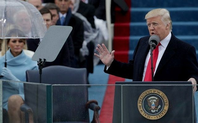 President Donald Trump delivers his inaugural address on the West Front of the US Capitol on January 20, 2017 in Washington, DC.  (Alex Wong/Getty Images/AFP)