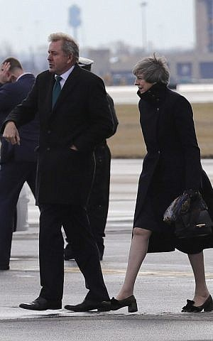 British Prime Minister Theresa May arrives at Philadelphia International Airport for her two-day visit to the United States on January 26, 2017 in Philadelphia, Pennsylvania. (Christopher Furlong/Getty Images/AFP)