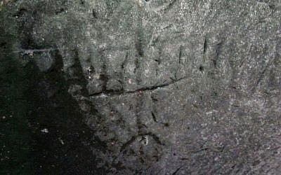 Engraving of a seven-branched menorah found in a cistern in the Judean lowlands in December 2016. (Saʽar Ganor, Israel Antiquities Authority)