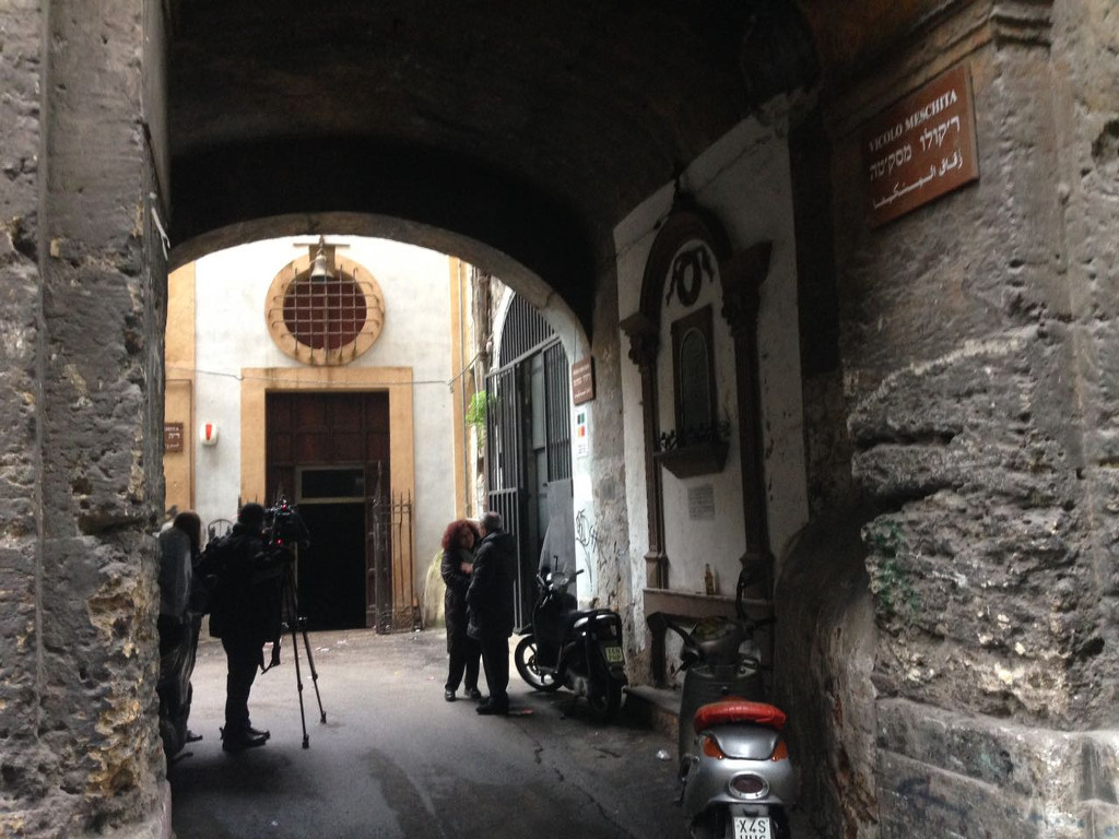 The entrance to the new synagogue on Via Meschita. (Courtesy of Rabbi Pierpaolo Pinhas Punturello)