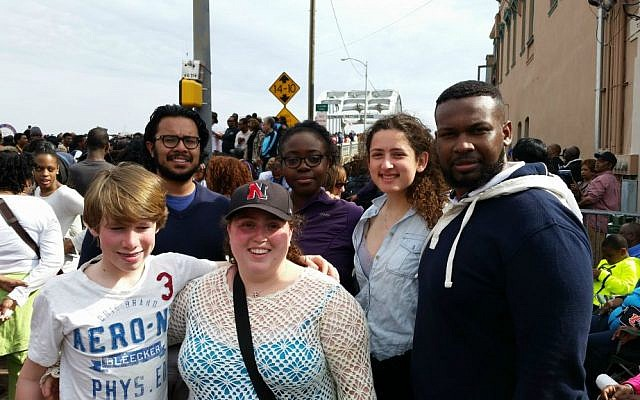 Lindsey Bressler (second from right) with her interfaith group at the Edmund Pettus Bridge in Selma, Alabama in 2015. (Courtesy)