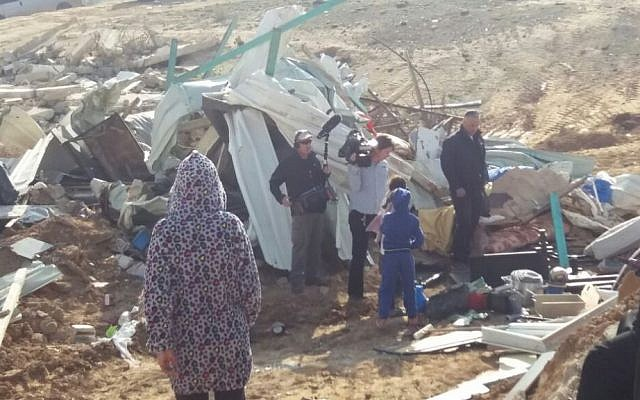 A demolished structure in the Bedouin village of Umm al-Hiran, on Wednesday, January 18, 2017 (Dov Lieber)