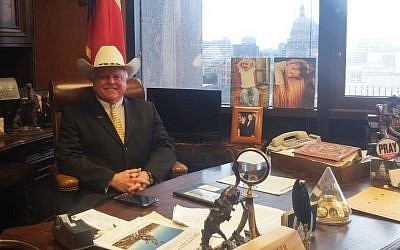Texas Agriculture Commissioner Sid Miller in his office in Austin, Texas on January 9, 2017. (Times of Israel)