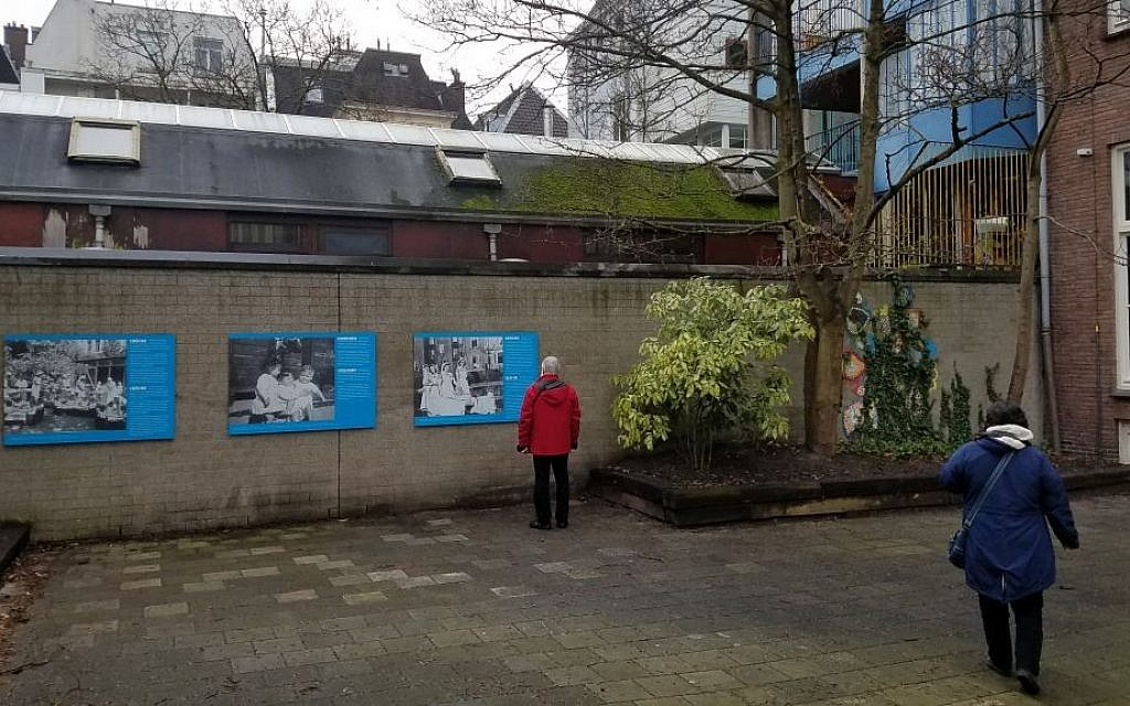 The courtyard of Amsterdam's National Holocaust Museum, through which hundreds of Jewish children were smuggled into safety during the Shoah, January 15, 2017 (Matt Lebovic/Times of Israel)