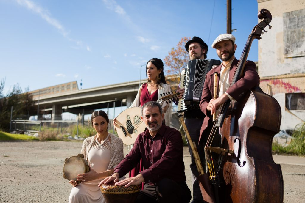 The ensemble, from left: Miriam Peretz, Rachel Valfer, Faisal Zedan (percussion), Dan Cantrell, and Eliyahu Sills. (Courtesy)