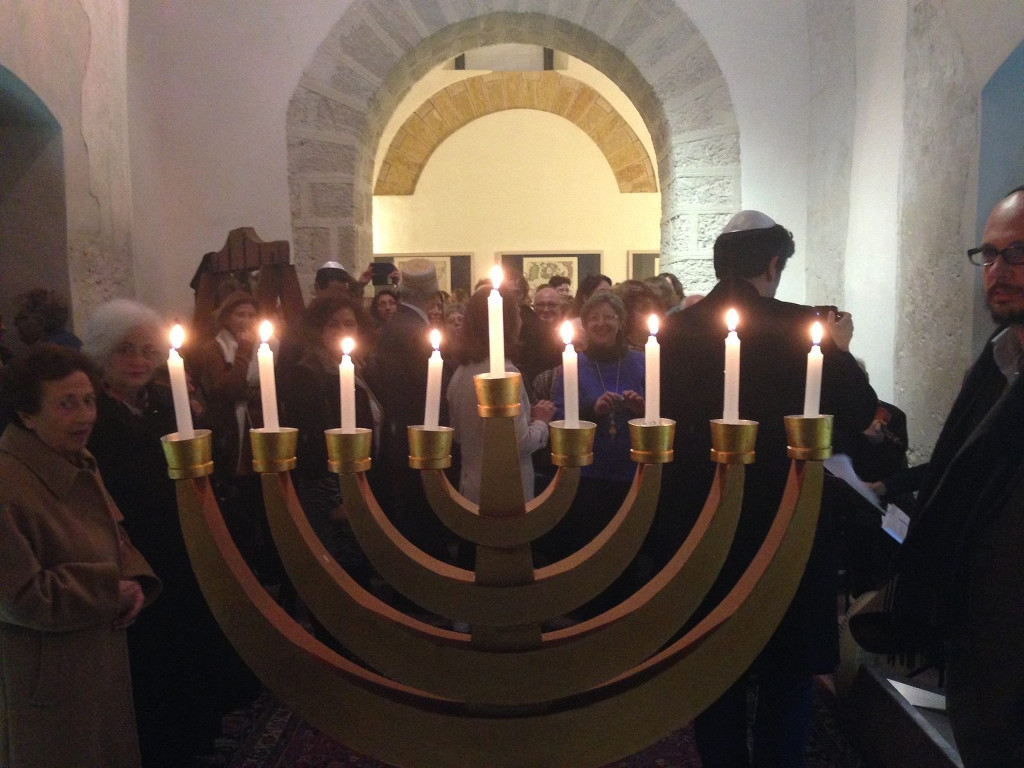 Public menorah lighting at former Catholic Inquisition headquarters Palazzo Steri in 2015. (Courtesy)