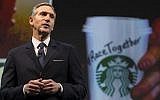 Starbucks Chairman and CEO Howard Schultz as he speaks during Starbucks annual shareholders meeting in Seattle, Washington, March 17, 2015.(AFP/GETTY IMAGES NORTH AMERICA / STEPHEN BRASHEAR)