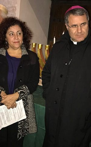 Luciana Pepi with Palermo Archbishop Corrado Lorefice. (Courtesy Luciana Pepi.)