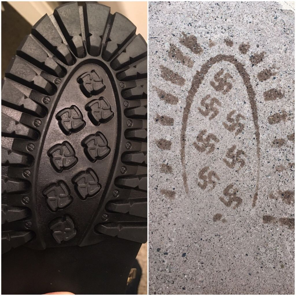 Us company recalls boots that leave swastika imprints the times of the picture posted to by a reddit user in january 2017 shows the swastika imprint left biocorpaavc Gallery
