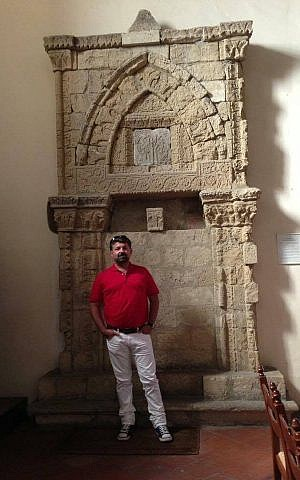 Angelo Leone with the ancient holy ark of the village of Agira, in the province of Enna, Sicily. (Courtesy)