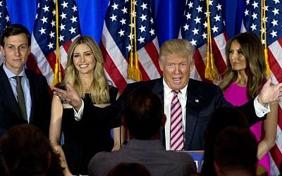 Then Republican candidate Donald Trump, joined by his wife Melania, daughter Ivanka and son-in-law Jared Kushner, speaks during a news conference at the Trump National Golf Club Westchester in Briarcliff Manor, NY on June 7, 2016 (AP Photo/Mary Altaffer)