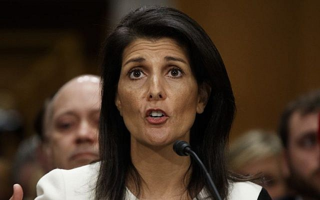 UN ambassador-designate Gov. Nikki Haley testifies on Capitol Hill in Washington, January 18, 2017, at her confirmation hearing before the Senate Foreign Relations Committee. (AP Photo/Evan Vucci)