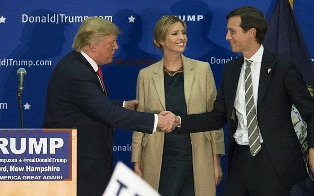 Donald Trump, left, shakes hands with Jared Kushner, husband of his daughter Ivanka, during a campaign stop at Concord High School, January 18, 2016, in Concord, NH (AP Photo/John Minchillo)