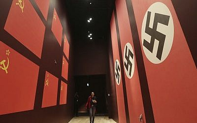 A woman looks at an exhibit in the Museum of the Second World War in Gdansk, Poland, on Monday, January 23, 2017. (AP Photo/Czarek Sokolowski)