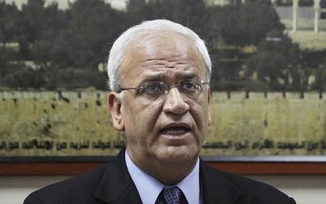 Chief Palestinian negotiator Saeb Erekat gives a press conference in the West Bank city of Ramallah on Monday, Aug. 23, 2010 (AP Photo)
