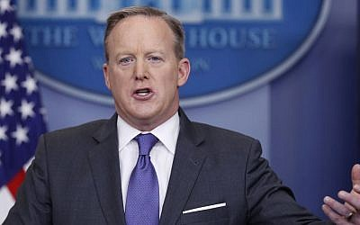 White House press secretary Sean Spicer speaks during the daily news briefing at the White House in Washington, Monday, January 30, 2017. (AP Photo/Carolyn Kaster)