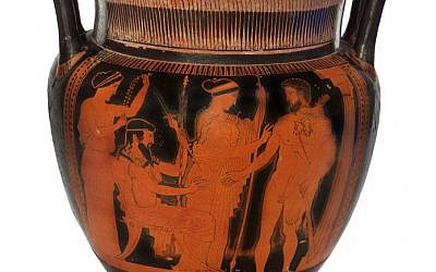 Attic red-figure column krater depicting Herakles on Mount Olympus between the Gods Greece, Classical Period, attributed to the Naples Painter, ca. 460 BCE, pottery BLMJ 4963. (Vladimir Naikhin, Bible Lands Museum)