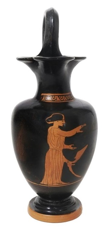 Attic red-figure oinochoe (wine jug), depicting a young woman standing beside a klismos chair Greece, Classical period, attributed to the Group of Ferrara T 132, ca. 425 BCE, pottery BLMJ 9593.(Vladimir Naikhin, Bible Lands Museum)