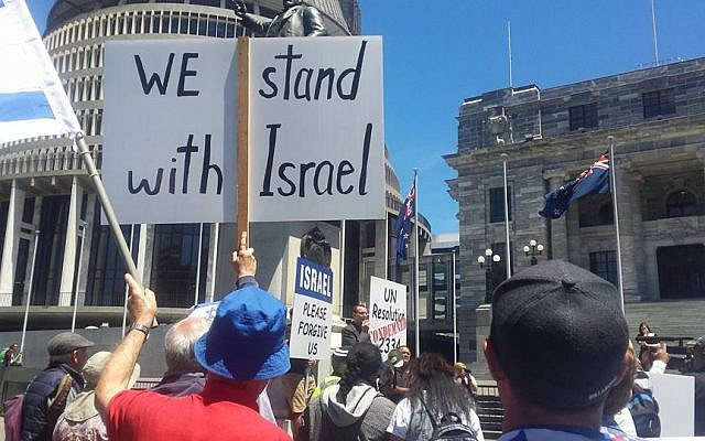 A protest outside the New Zealand parliament in Auckland, New Zealand, on December 30, 2016. (Ernie Rosenthal)