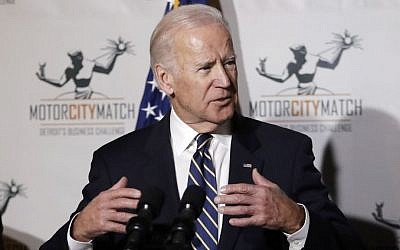 US Vice President Joe Biden gestures while speaking at a ceremony honoring 15 Detroit entrepreneurs, Tuesday, Jan. 10, 2017, in Detroit. (AP Photo/Carlos Osorio)