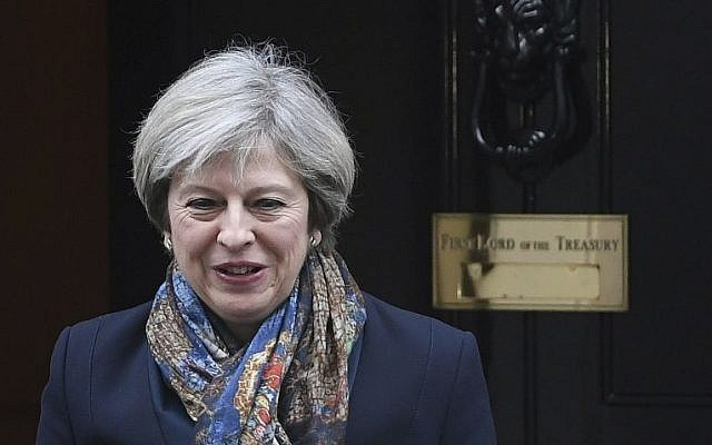 Britain's Prime Minister, Theresa May, leaves Downing Street in London Tuesday Jan. 24, 2017.  (Victoria Jones/PA via AP)