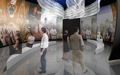 Rendering of the new core exhibition at the Museum of the Jewish People at Beit Hatfutsot, which will be introduced in 2019. (Courtesy of Gallagher & Associates)
