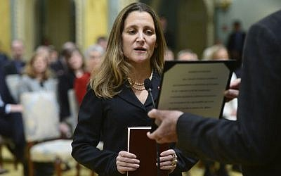 Chrystia Freeland is sworn in as minister of foreign affairs during a ceremony at Rideau Hall in Ottawa on Tuesday, January 10, 2017. (Sean Kilpatrick/The Canadian Press via AP)