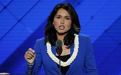 In this July 26, 2016 file photo, Rep. Tulsi Gabbard, D-Hawaii speaks at the Democratic National Convention in Philadelphia. (AP Photo/J. Scott Applewhite, File)