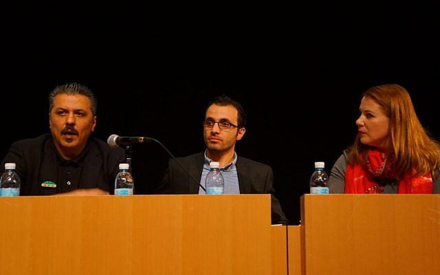 Issam Zeitoun (right), Sirwan Kajjo, a Syrian Kurdish author and journalist (center) and MK (Zionist Union) Ksenia Svetlova (left). (Credit: Reuvan Ramaz, Truman Institute).