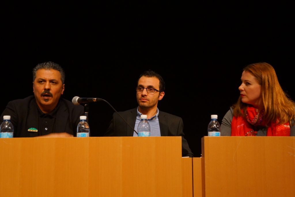 Issam Zeitoun (right), Sirwan Kajjo, a Syrian Kurdish author and journalist (center) and MK (Zionist Union) Ksenia Svetlova (left). (Reuvan Ramaz, Truman Institute).