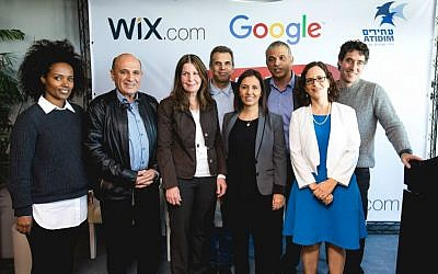 Finance Minister Moshe Kahlon, third from right, at launch of Digital Starter project at the Google offices in Tel Aviv; In the picture are also Wix President Nir Zohar (right) and Google Israel CEO Meir Brand, fifth from right (Courtesy:  Tomer Foltyn)