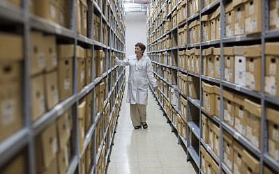 Illustrative photo of the Israeli state archives in Jerusalem on September 3, 2012. (Yonatan Sindel/Flash90)