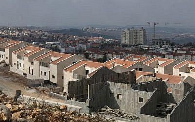 Illustrative: Building in 2014 at the West Bank settlement of Ariel (Flash90)