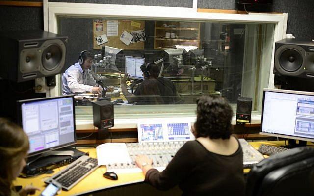 Illustrative image of radio broadcasters at the Army Radio headquarters in Jaffa, on March 27, 2014. (Tomer Neuberg/Flash 90)