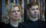 Prime Minister Benjamin Netanyahu's wife, Sara Netanyahu, together with their son Yair at a Hannukah event, on December 13, 2015. (Hadas Parush/Flash90)