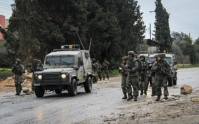 Illustrative photo. Security forces during clashes with protesters at the entrance to the village of Qabatiya in Jenin, February 6, 2016. (Haytham Shtayeh/FLASH90)