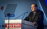 Editor-in-Chief of Israeli newspaper, Yediot Ahronot, Ron Yaron, speaks at the opening of a conference at the Jerusalem Convention Center, March 28, 2016. (Hadas Parush/Flash90)