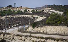 View of Lebanon as seen from the Israeli side of the border near Rosh Hanikra, in northwestern Israel, November 10, 2016 (Doron Horowitz/Flash90)